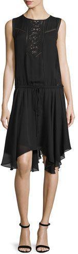 A.L.C. Meloni Sleeveless Silk Handkerchief Dress, Black