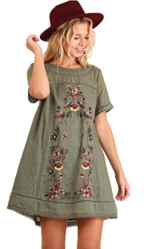 6ee3158c0a Umgee Womens Bohemian Embroidered Short Sleeve Dress or Tunic M Olive >>>  Visit the image link more details. (This is an affiliate link) #OutfitIdeas