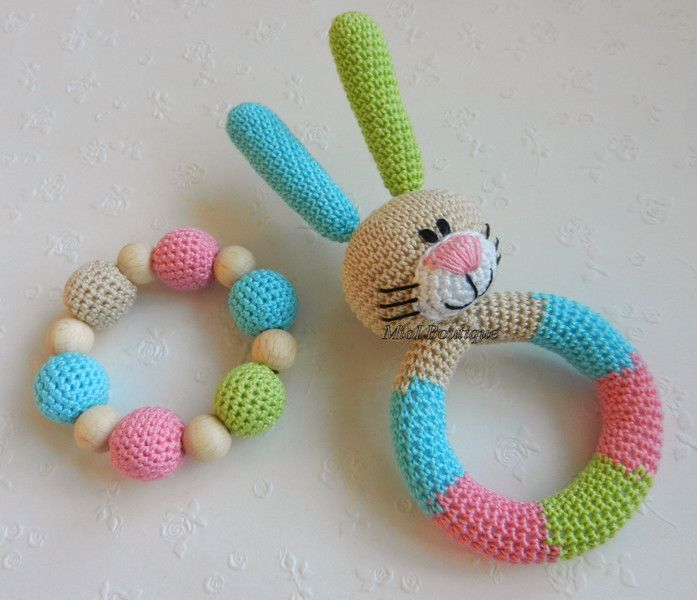 Bunny+Baby+Toy+Rattle+Baby+teether+Set+of+2+from+MioLBoutique+by+DaWanda.com