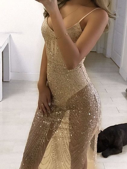 Gold Sheer Sparkle Sequinned Body Lined Cami Party Dress