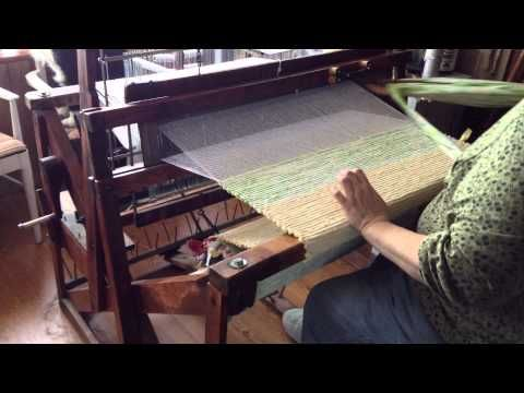 Rug Weaving on a Union  Loom - We own the Union Loom that Bob's Grandmother bought used so long ago. She made many a rug on it and they last forever. We are taking over her tradition.