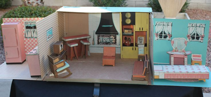 Rare vintage 1963 ideal cardboard barbie tammy dollhouse for Dream house days furniture