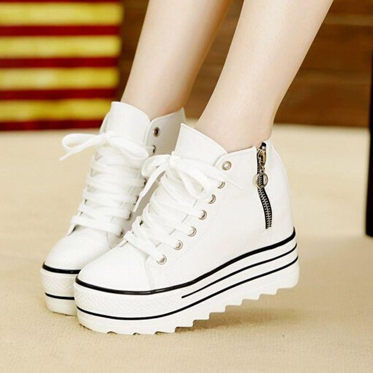 2017 Nova Moda Das Mulheres de Salto Alto Plataforma Sapatas de Lona Elevadores Branco Preto High Top Casual Sapatos de Mulher com Zíper em Bombas das mulheres de Sapatos no AliExpress.com | Alibaba Group