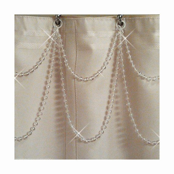 crystal swag valance | Double Swag....White Pearl Resin ...Shower Curtain Bling