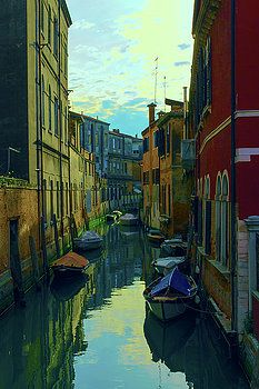 one of the many Venetian canals at the end of a Sunny summer day by George…