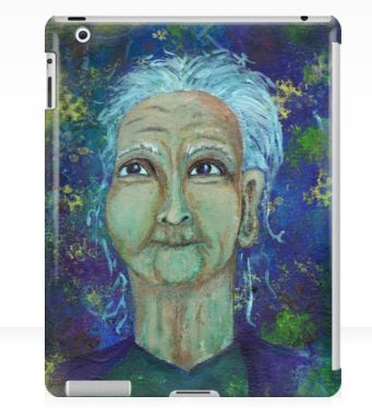 Auntie Ebb iPad case ~ http://www.redbubble.com/people/elizafayle/works/13682796-auntie-ebb?p=ipad-case  #woman #old #elderly #wise #crone