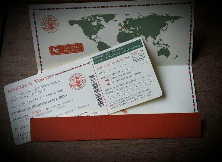 Faire-part Mariage - Voyage Vintage - Billet d'avion - Orange et Vert - Dessine-moi une etoile