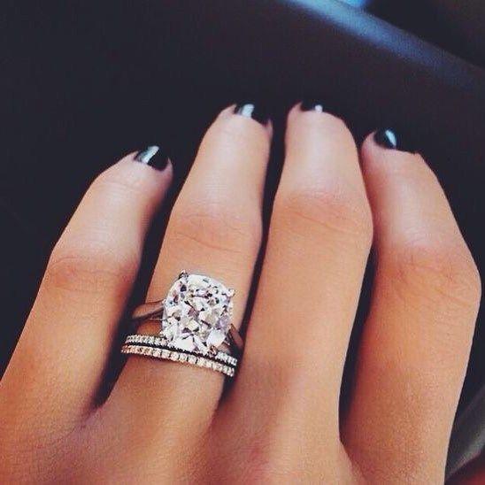Cushion cut diamond engagement ring and diamond wedding band #engagementring