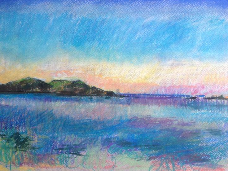 Sanna Bay. Evening. A4 Pastel Drawing.