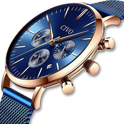 cf59b100c6aeb CIVO Montres Homme Imperméable Mode Noir Bleu Chronographe Multifonctionnel Montre  avec Bande en Acier Inoxydable Calendrier