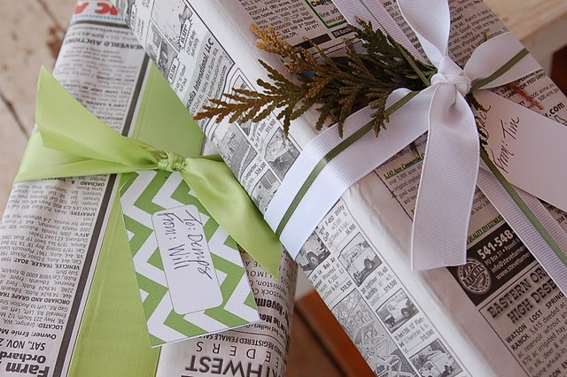 wrap gifts with newspaper, add ribbon and decoration and tag...viola! Perfect!