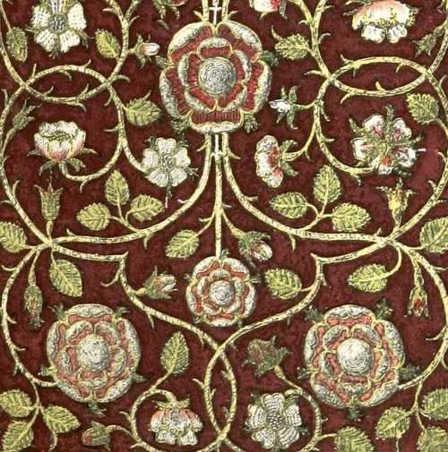 Detail of the embroidery on The Bible of Queen Elizabeth 1st, 1583 - bound in crimson velvet.