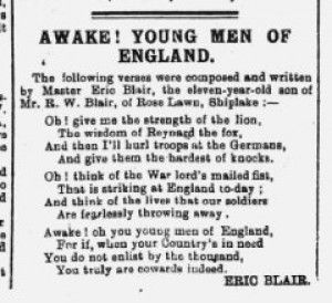 George Orwell (Eric Blair) first published poem in the Henley Standard