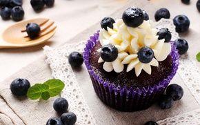 Обои ягоды, выпечка, кекс, десерт, крем, сладкое, черника