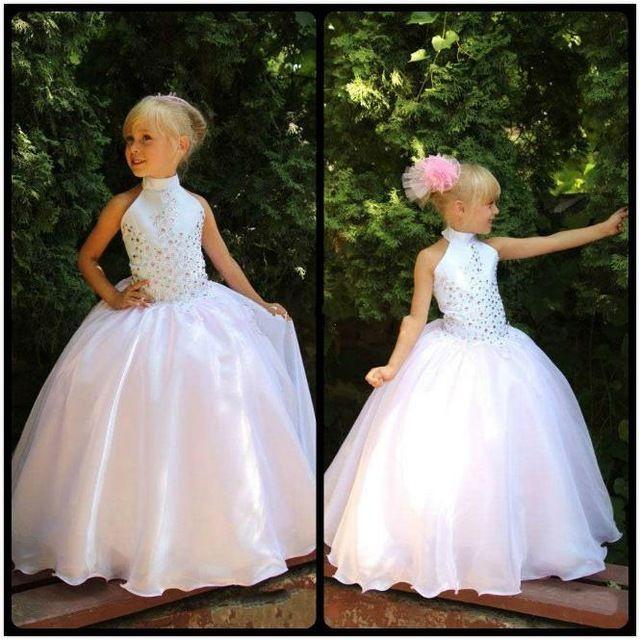 Nieuwe Hoge Hals Roze Bloem Meisjes Jurken voor Bruiloften Wit Kralen Kristallen Meisjes Pageant Jurken Heilige Communie Jurk FE18