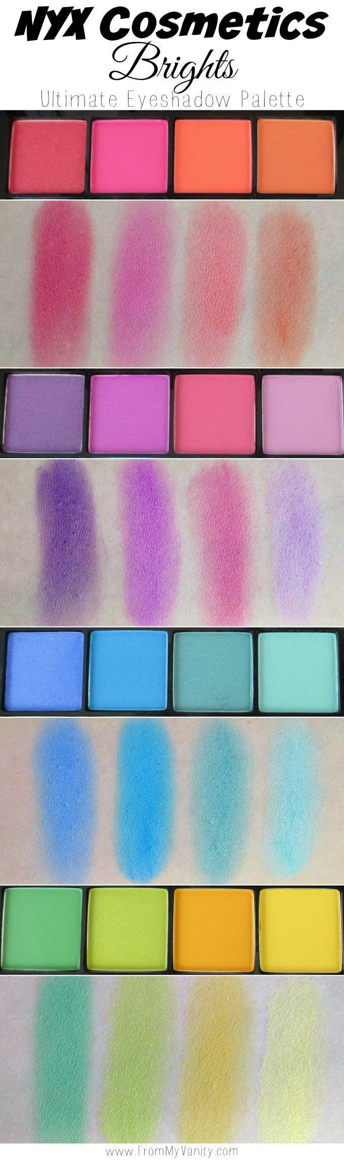Arm swatches of the NEW NYX Cosmetics Brights Ultimate shadow palette | FromMyVanity.com