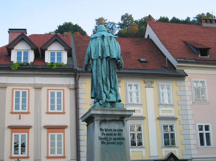 Valentin Vodnik's statue at Ljubljana's Central Market with an excerpt from his poem My monument  #ValentinVodnik #Slovenia #SloveniaHistory #SloveniaCulture #visitSlovenia #Culture #poet