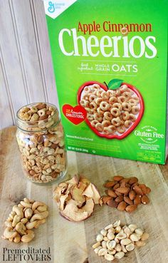 This delicious apple cinnamon trail mix recipe includes apple cinnamon cheerios, nuts, and apple chips.