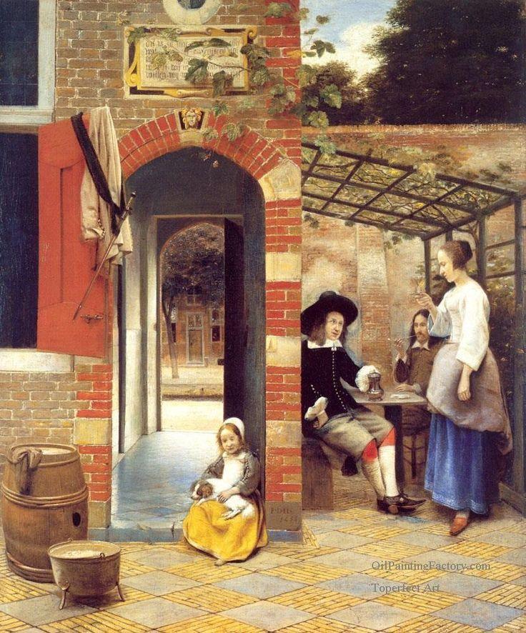 Pieter de Hooch (Dutch, 1629-1683). Drinkers in the Bower, 1658. Scottish National Gallery, Edinburgh