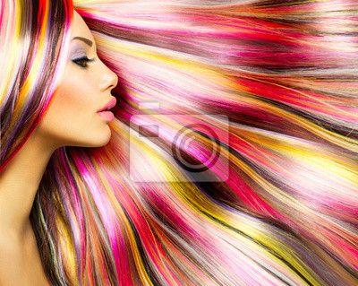 Fototapeta Krása Modelka dívka s barevné barvené vlasy