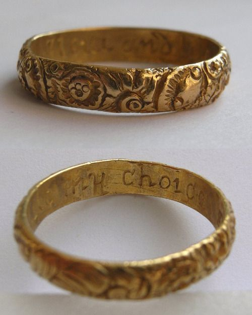 "Joseph Collier, Posy ring, 18th century . The ring inscription reads: ""I love and like my choice""."
