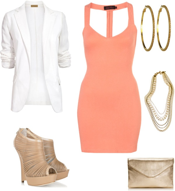 Peach and White Dressy Outfit. Love love LOVE this, just wish the dress was a little longer..