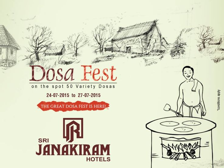 Ultimate #50_DOSA_VARIETIES at 'DOSA FEST' ! Head to #SrijanakiramHotels   #Rooftop  Restaurant to enjoy unbelievable varieties and taste of #Dosa  from July 24th to 27th. #Food #festival #DosaFestival #carnival