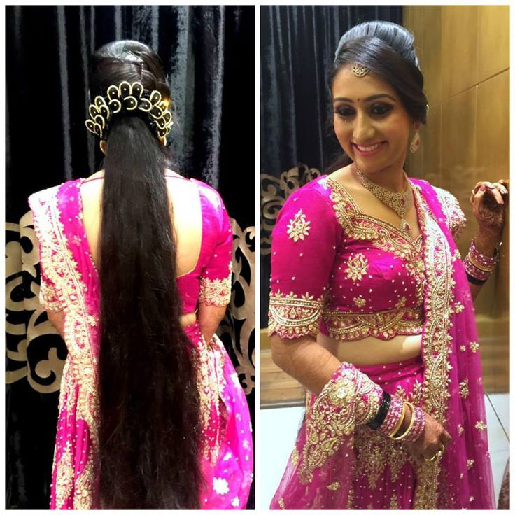 Traditional Southern Indian Bride Wearing Bridal Lehenga And Jewellery.  Reception Look. Makeup And Hairstyle