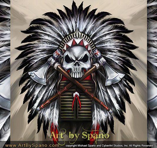Great White Buffalo Native American Headdress Tattoo: Indian Skull With Headdress And Tomahawks