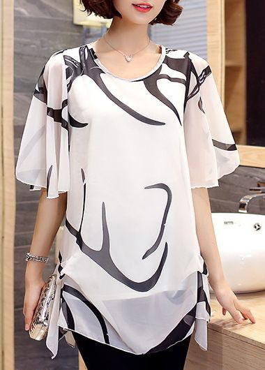 Printed Round Neck Half Sleeve White Chiffon Blouse, free shipping worldwide and new sigh up 15% off, don't miss again.