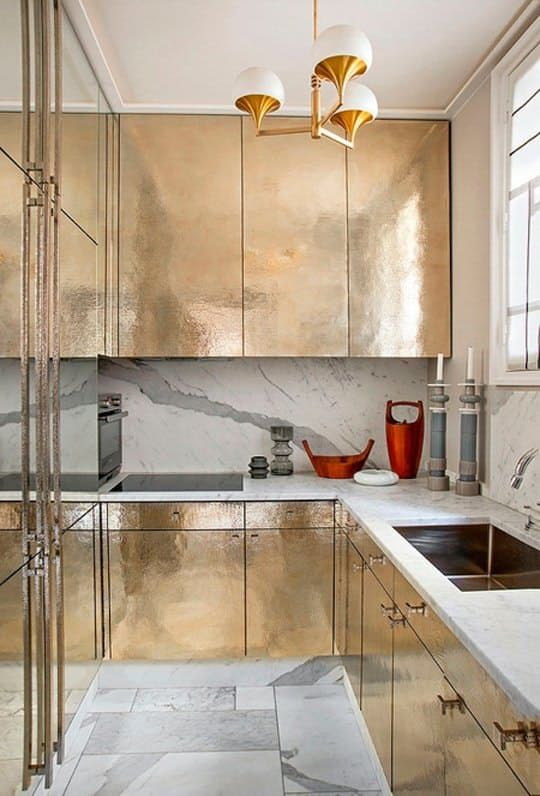 Are These Brass and Gold Metallic Kitchen Cabinets Glam Enough for You?