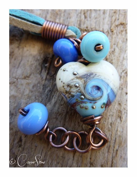 Blue Wave Heart Trinity Wrap by TheCopperstoneForge on Etsy