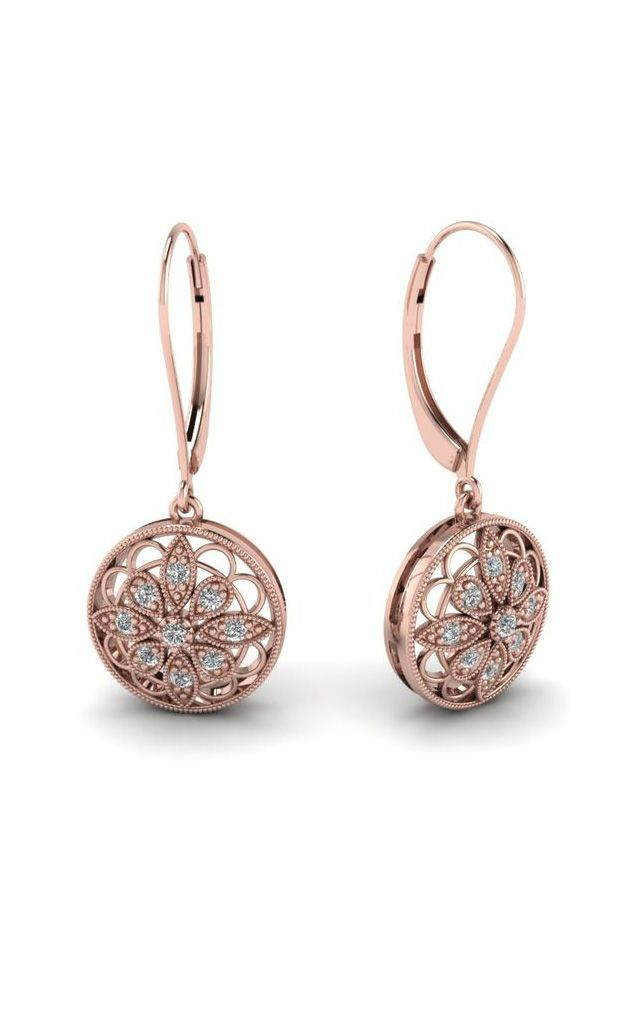 White Diamond Drop In 14K Rose Gold