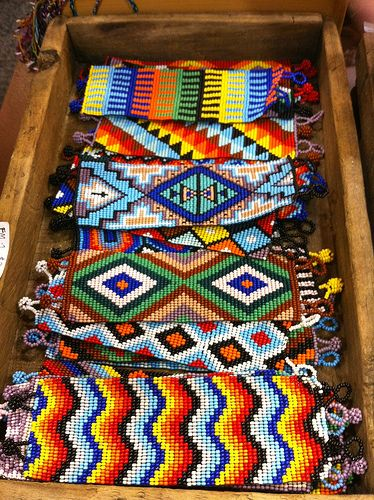 I like all the bright colors and distinct patterns in the jewelry. The angular designs are really interesting.