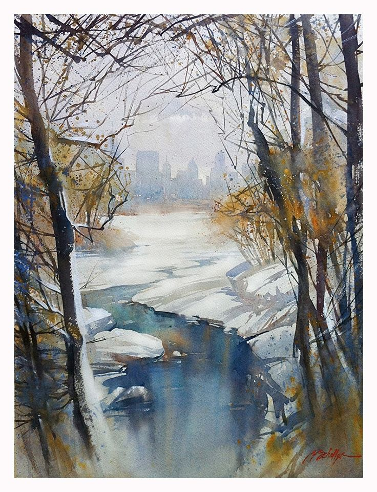 Winter - Central Park : NYC by Thomas W. Schaller Watercolor ~ 30 inches x 22 inches