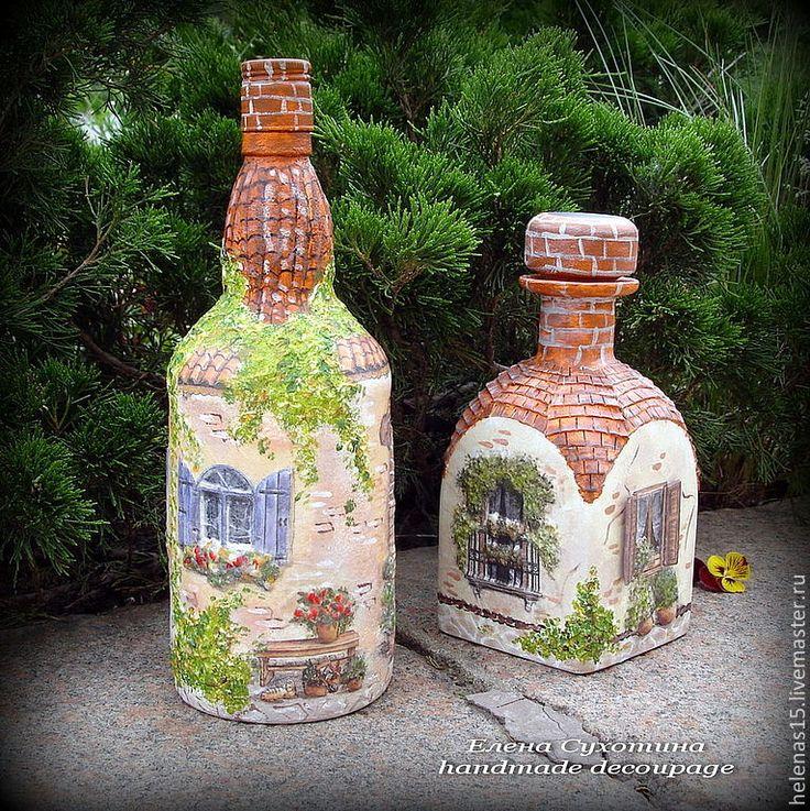 """Купить Бутылка-светильник """"Дом в райском саду"""" Декупаж бутылки - бутылка, бутылка декоративная"""