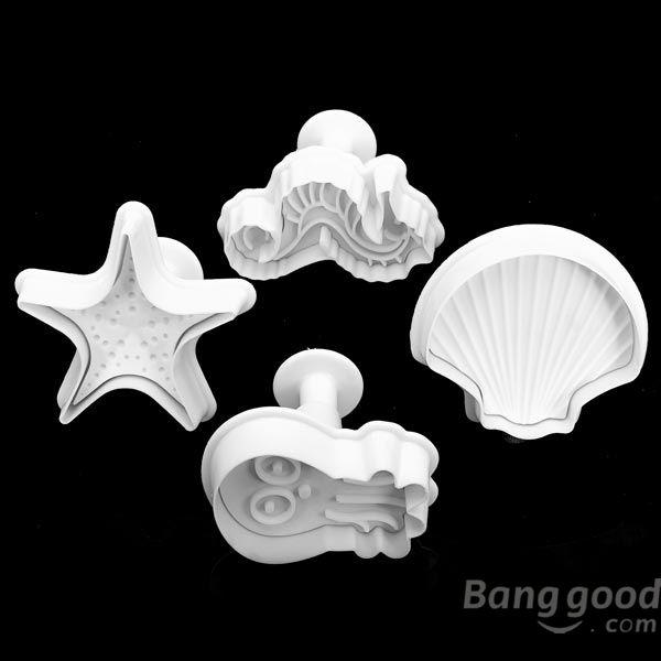 4PCS Sea Shells Cake Baking Mold Plunger Cutter