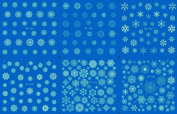 Nail Sticker WATER DECAL BLUE BASE FLOWER CHRISTMAS XMAS WHITE SNOW FLAKE  RU242-247