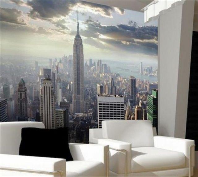 idées de déco murale en papier peint photo New York