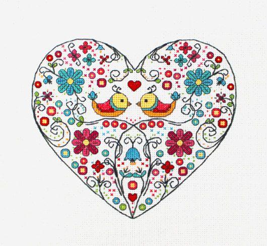 Cross stitch pattern heart needlepoint birds sampler por LaMariaCha
