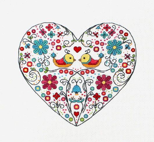Ornamental Heart with birds and flowers cross stitch pattern needlepoint on Etsy, $5.00