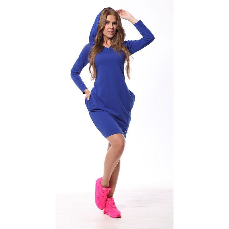 Rochie albastra casual-sport cu gluga si buzunare