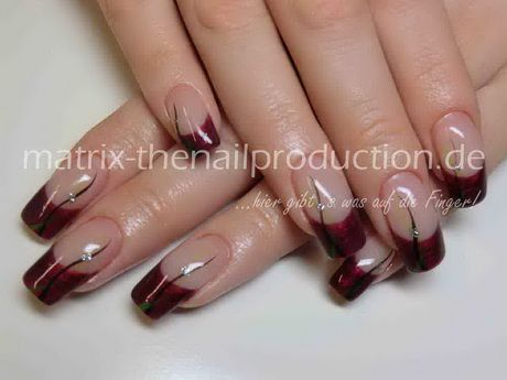 Nageldesign French Rot Naels Ongles Coiffure Et Beauté Onglerie