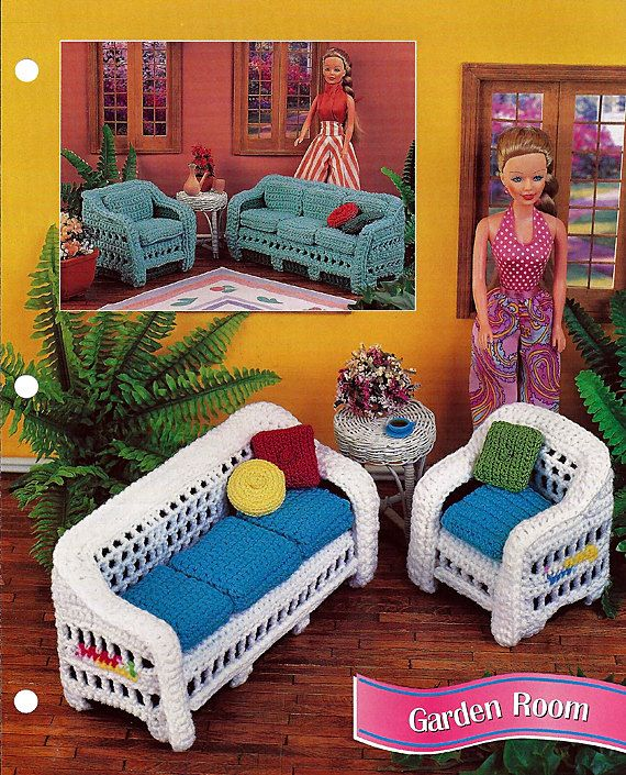 Crochet a sofa and chair for barbies sun room. Instructions for Cool Green set and white rattan set including pillow and cushions. Sofa is
