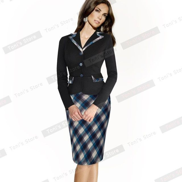 Nice-forever Vintage Plaid Polka Dot Sheath Formal Work Dress Buttons Notched Full Sleeve Business Casual Pencil Dress B246
