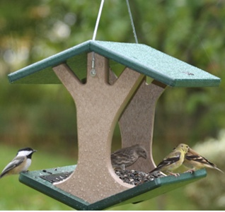 This Fly-Thru Bird Feeder is made from recycled, plastic milk bottles. Easy to clean and materials won't crack, split or fade!