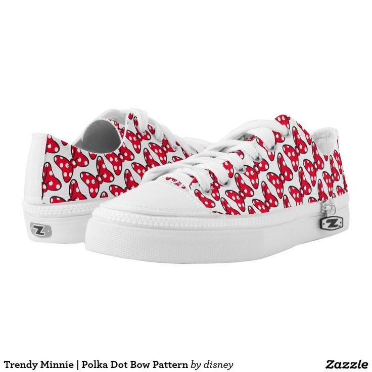 Trendy Minnie | Polka Dot Bow Pattern. Disney. Producto disponible en tienda Zazzle. Calzado, moda. Product available in Zazzle store. Footwear, fashion. Regalos, Gifts. #zapatillas #shoes