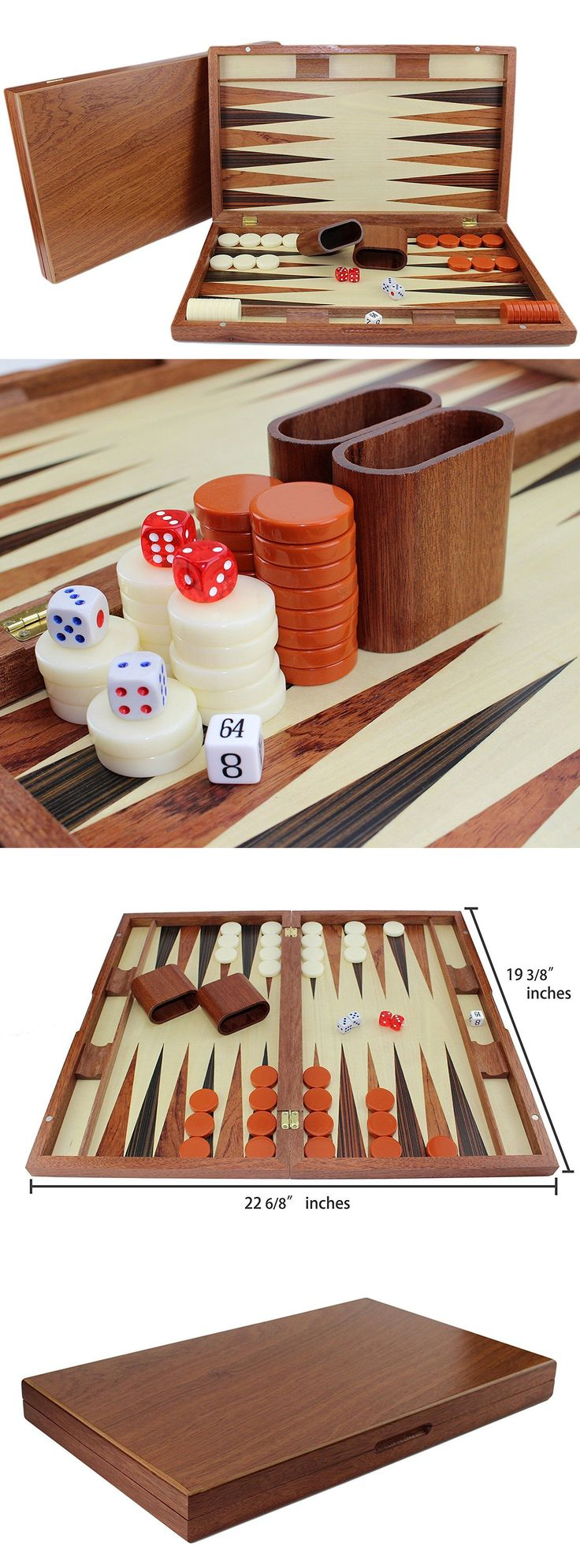 Contemporary chess 40856 19 large classic board game backgammon set brown wooden portable us seller