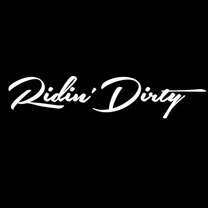 "This Ridin' Dirty Script logo decal is approximately 7"" wide x 1.5"" tall. Perfect for your car window, skateboard, cell phone, bicycle, laptop, ATV, surfboard, book covers, snowboard... we could keep"