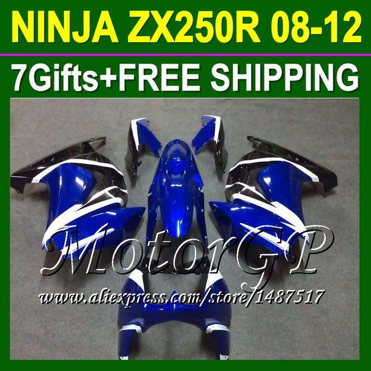Купить товар7 подарки + для Kawasaki ниндзя ZX250 08 09 10 11 синий черный 12 16 # 28 ZX 250 ниндзя 250r 2008 2009 2010 синий ZX250R зализа в категории Щитки и художественная формовкана AliExpress.